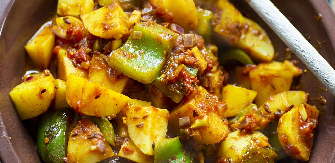 Potatiscurry med paprika – aloo simla mirch