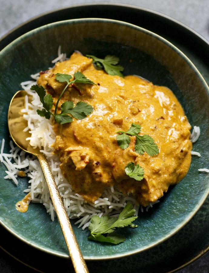 Vegetarisk indisk kycklingkorma