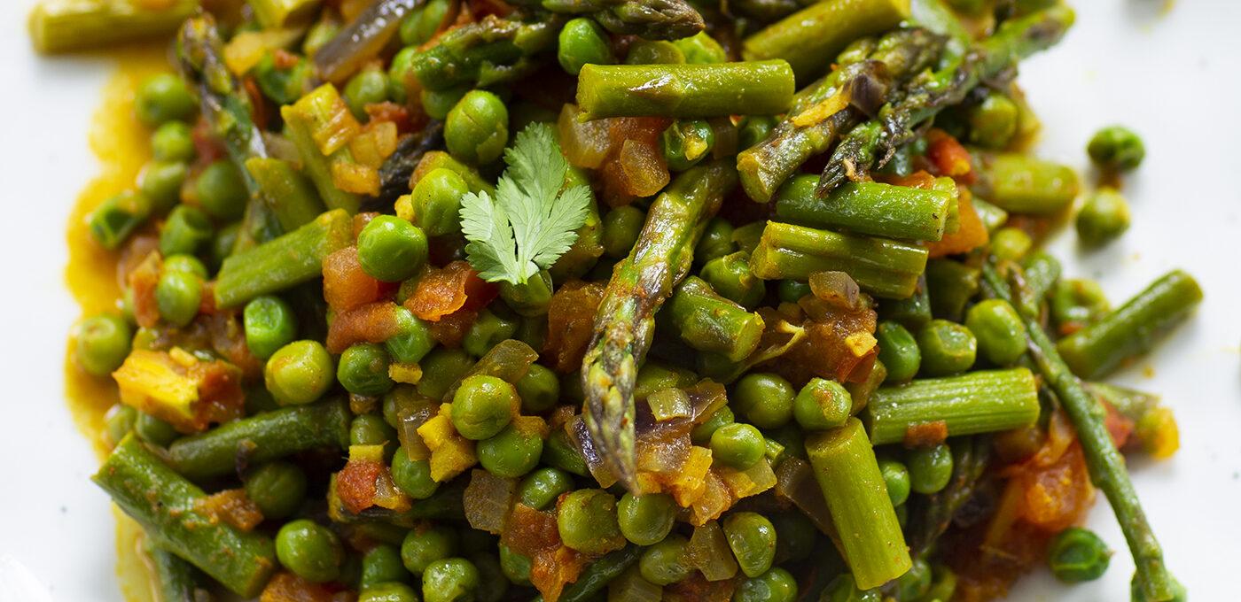 Indisk sparris – sabzi (vegetarisk grönsaksrätt)